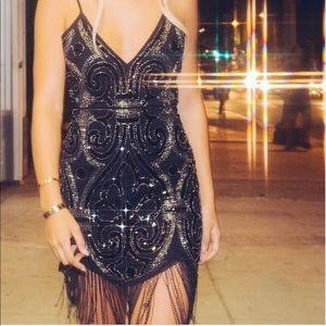 Pretty Little Thing sparkly black dress